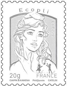 Timbre Marianne Ecopli - Le timbre économique de couleur gris est le moins cher pour envoyer une enveloppe de mois de 20 grammes.