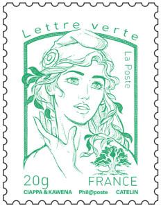 Timbre Marianne Verte - Le prix du tarif écologique de couleur vert