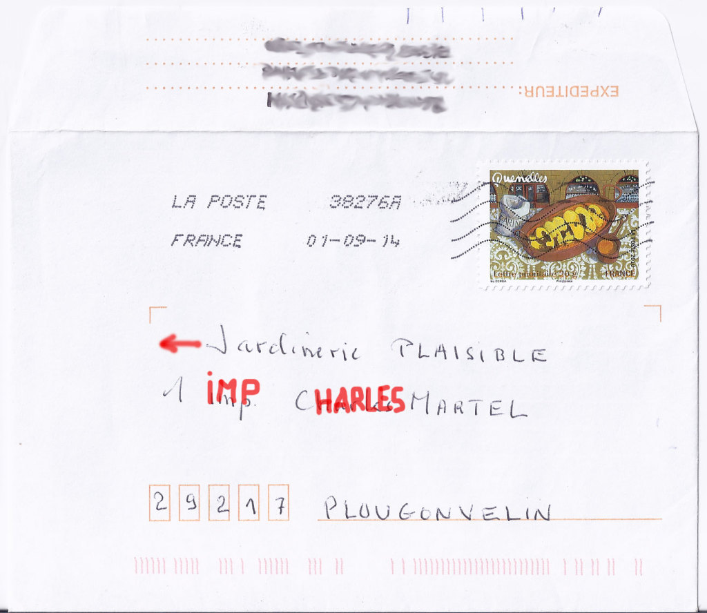 Adresse sur enveloppe