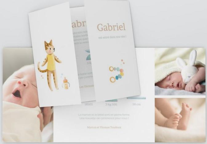 Idée de présentation du texte sur un faire-part de naissance